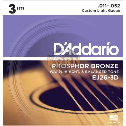 Pack de 3 juegos de cuerdas Guitarra Acústica Serie EJ Phosphor Bronze Custom Light